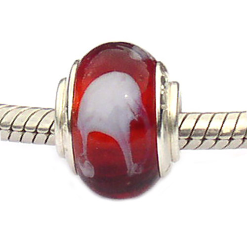 Red and white Murano Glass bead on bracelet