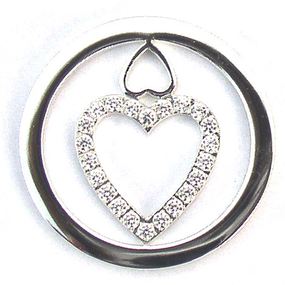 Double Love Heart Silver Plated Carlo Biagi Coin