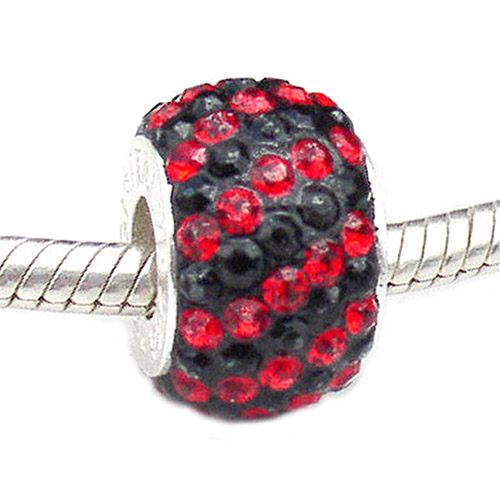 Carlo Biagi large hole bead Swarovski Crystal Red and Black Stripes