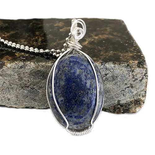 Lapis Lazuli Pendant Necklace Wire Wrapped