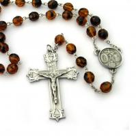 Catholic Rosary for Men Tortoise Brown