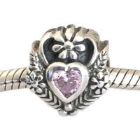 Pink Heart with Vines Bead Sterling Silver
