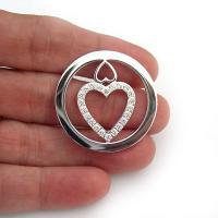Double Love Heart Cz Silver Plated Carlo Biagi Coin