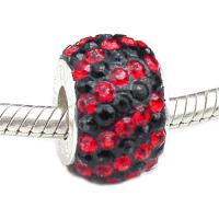 Carlo Biagi large hole bead Swarovski Crystal Black and Red Stripes