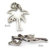 Sterling Silver Palm Tree pendant from the back and from the side